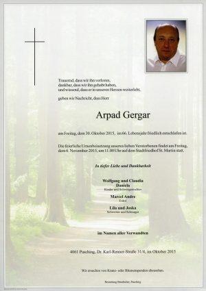 Portrait von Arpad Gergar