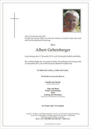 Portrait von Albert Gebetsberger