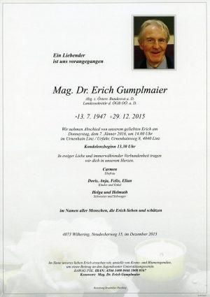 Portrait von Mag. Dr. Erich Gumplmaier