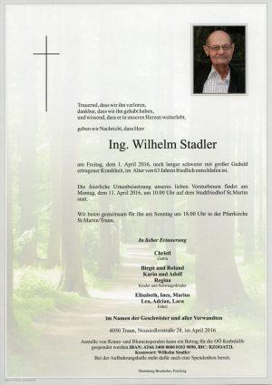 Portrait von Ing. Wilhelm Stadler