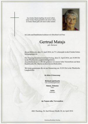 Portrait von Gertrud Matajs