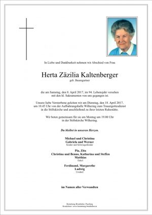 Portrait von Herta Zäzilia Kaltenberger