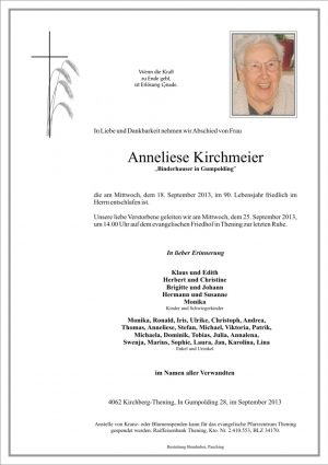 Portrait von Anneliese Kirchmeier