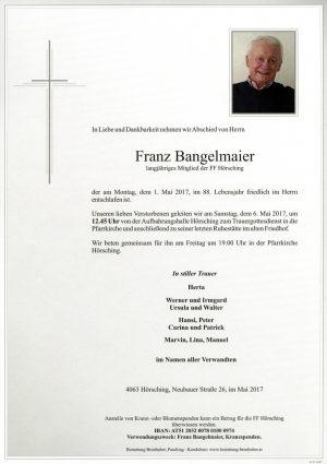 Portrait von Franz Bangelmaier