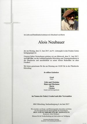 Portrait von Alois Neubauer
