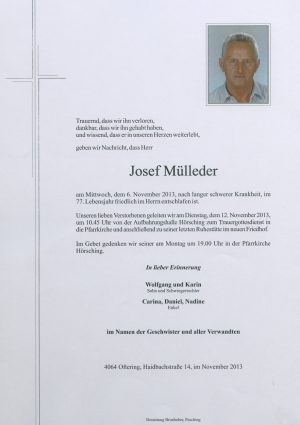 Portrait von Josef Mülleder