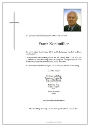 Portrait von Franz Koplmüller