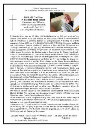 Portrait von Balduin Josef Sulzer OStR. KR. Prof. P.