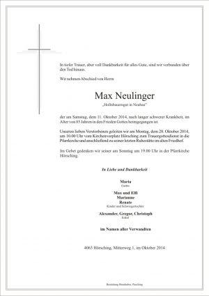 Portrait von Max Neulinger