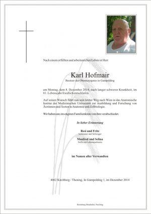 Portrait von Karl Hofmair